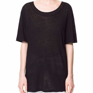 Zara Black Linen and Knit Trim Tunic